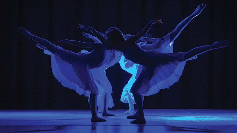 FALA Dancers photo with blue silhouette lighting