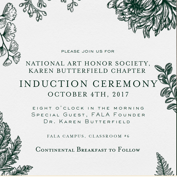 NAHS Induction Ceremony @ FALA Campus, classroom #6