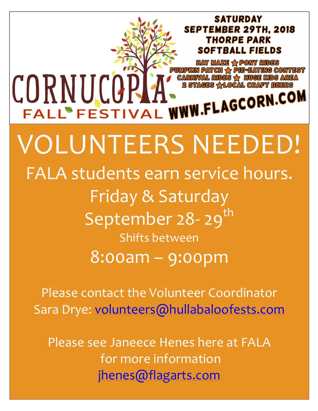 Cornocopia! FALA Student Service Hours Opportunity