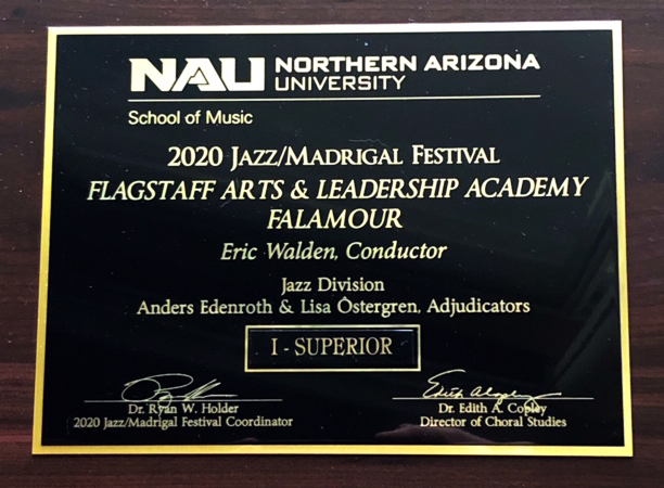 Falamour Receives Top Honors At 2020 NAU Jazz Madrigal Festival