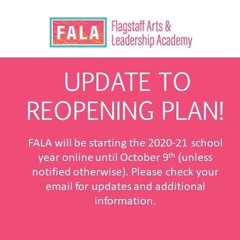 Fall 2020 FALA School Reopening Plan Poster