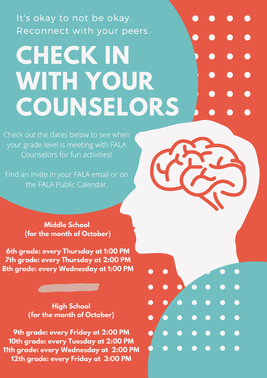Check In With Your Counselors October 2020 Schedule